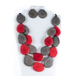 Red & Gray Chunky Bib Tagua Nut Necklace